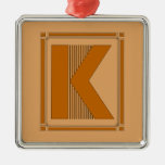 Straight lines art deco with monogram, letter K Christmas Tree Ornament