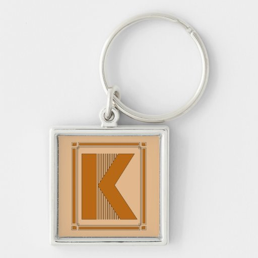 Straight lines art deco with monogram, letter K Silver-Colored Square Keychain
