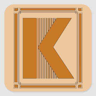 Straight lines art deco with monogram, letter K Square Sticker