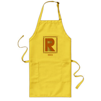 Straight lines art deco with monogram, letter R Long Apron