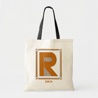 Straight lines art deco with monogram, letter R Tote Bag