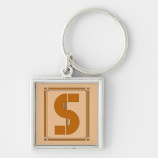 Straight lines art deco with monogram, letter S Keychain