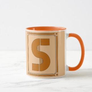 Straight lines art deco with monogram, letter S Mug