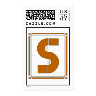 Straight lines art deco with monogram, letter S Postage