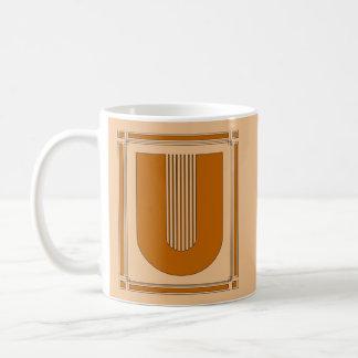 Straight lines art deco with monogram, letter U Coffee Mug