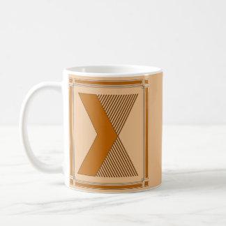 Straight lines art deco with monogram, letter X Coffee Mug