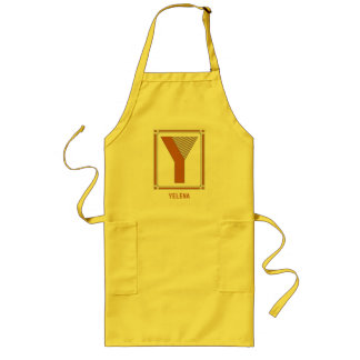 Straight lines art deco with monogram, letter Y Long Apron