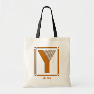 Straight lines art deco with monogram, letter Y Tote Bag