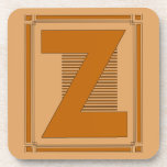 Straight lines art deco with monogram, letter Z Drink Coasters