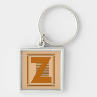 Straight lines art deco with monogram, letter Z Keychain