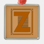 Straight lines art deco with monogram, letter Z Christmas Ornaments