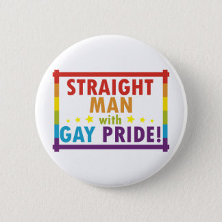 Straight Man with Gay Pride Button