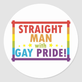 Straight Man with Gay Pride Classic Round Sticker