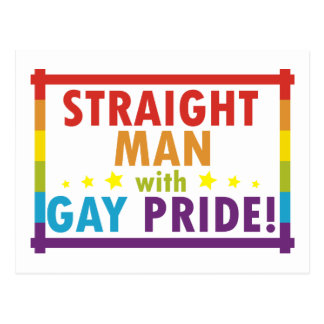 Straight Man with Gay Pride Postcard