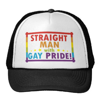 Straight Man with Gay Pride Trucker Hat