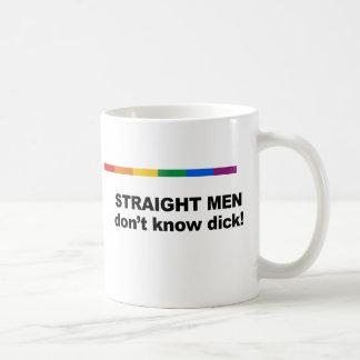 Straight men don't know dick classic white coffee mug