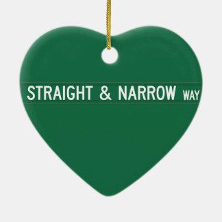 Straight & Narrow Way, Street Sign, NC, US Christmas Tree Ornament