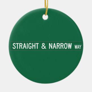 Straight & Narrow Way, Street Sign, NC, US Christmas Ornaments