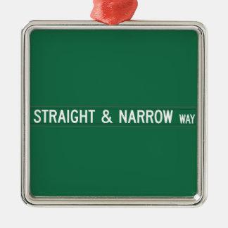 Straight & Narrow Way, Street Sign, NC, US Ornament