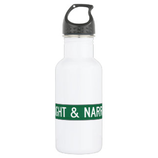 Straight & Narrow Way, Street Sign, NC, US Stainless Steel Water Bottle