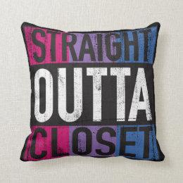 Straight Outta Closet Parody LGBT Bisexual Throw Pillow