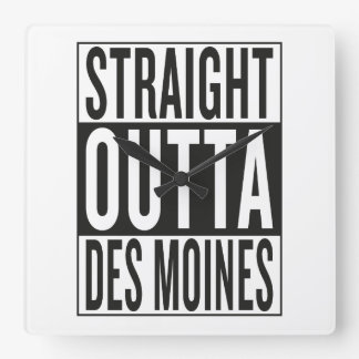 straight outta Des Moines Square Wall Clock