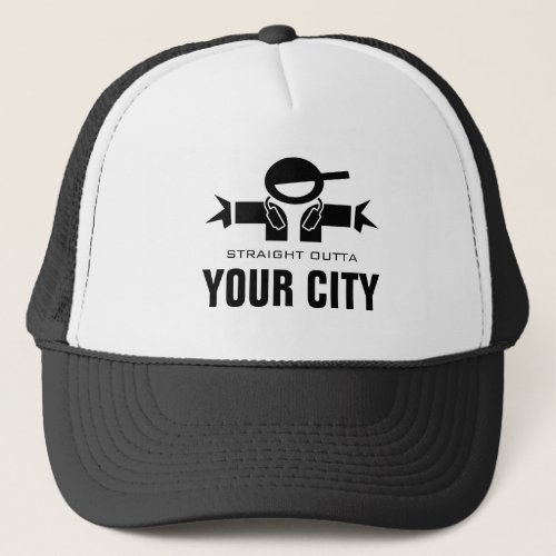 Straight Outta DJ trucker hat | Add your city name
