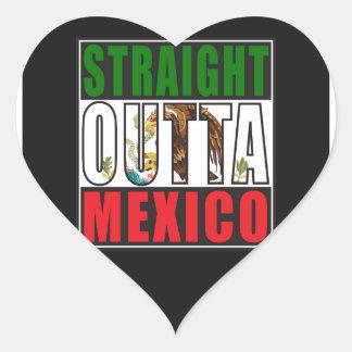 Straight Outta Mexico Flag Heart Sticker