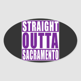Straight Outta Sacramento Purple Oval Sticker