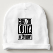 Straight Outta Wombton Funny Baby with Custom Name Baby Beanie