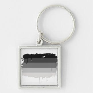 Straight Pride Colors Silver-Colored Square Keychain