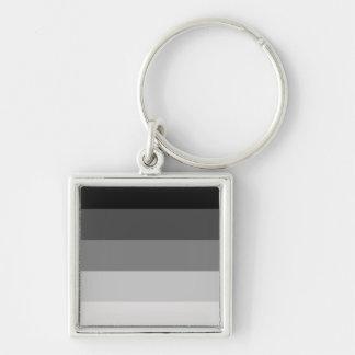 Straight Pride Silver-Colored Square Keychain