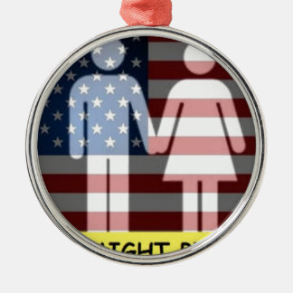 Straight Pride w flag Metal Ornament