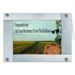 Straight Railroad Tracks and Crossing with a Bag Greeting Card