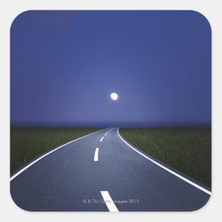 Straight Road at Night Square Sticker