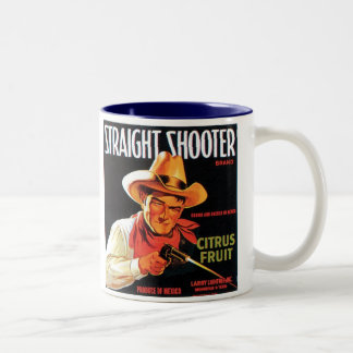 Straight Shooter Citrus Fruit Vintage Crate Label Two-Tone Coffee Mug