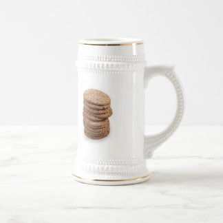 Straight stack of cookies on a white background beer stein
