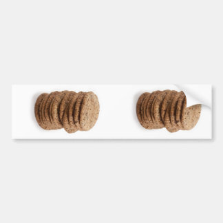 Straight stack of cookies on a white background car bumper sticker