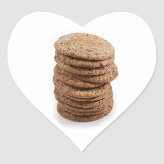 Straight stack of cookies on a white background heart sticker