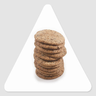 Straight stack of cookies on a white background triangle stickers