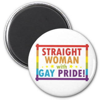 Straight Woman with Gay Pride 2 Inch Round Magnet