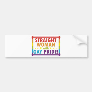 Straight Woman with Gay Pride Bumper Sticker