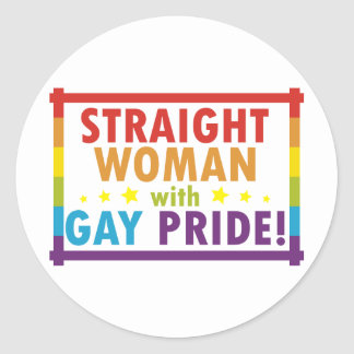 Straight Woman with Gay Pride Classic Round Sticker