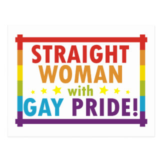 Straight Woman with Gay Pride Postcard