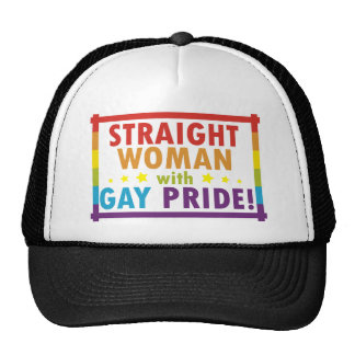 Straight Woman with Gay Pride Trucker Hat