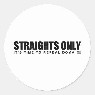 Straights Only Round Sticker