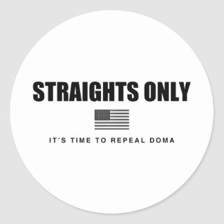 Straights Only Round Stickers