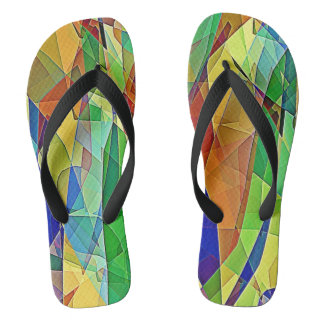 Strained Glass Rainbow Flip Flops