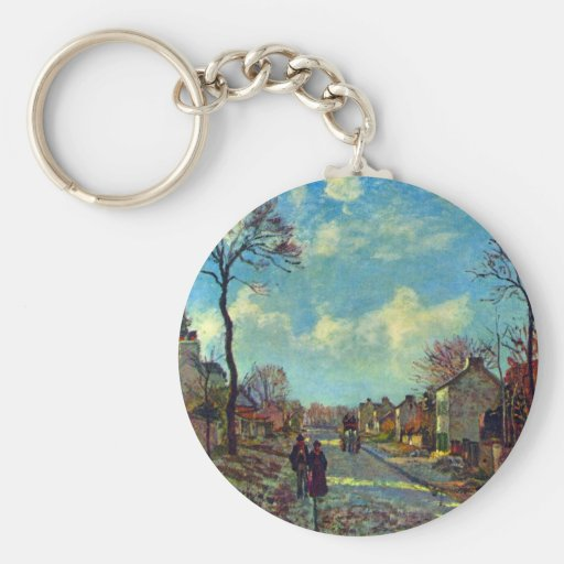 Strait of Louveciennes by Camille Pissarro Keychain