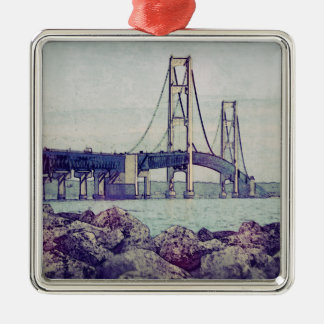 Straits of Mackinac Square Metal Christmas Ornament